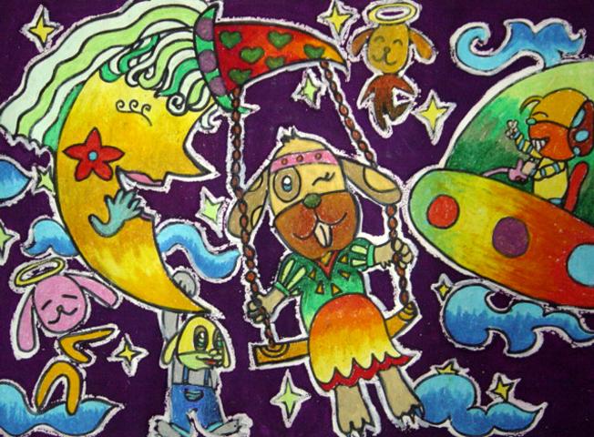 画犬绘; 二年级下册科技画; 小学一年级绘画比赛_2009(二)一图片